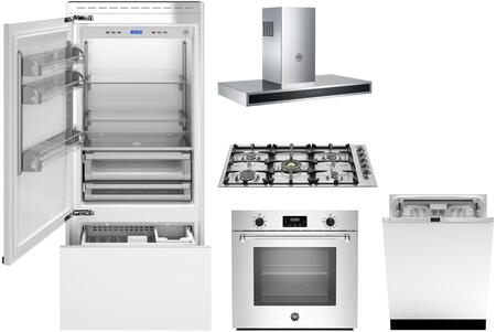 5 Piece Kitchen Appliances Package with 36″ Bottom Freezer Refrigerator  30″ Electric Single Wall Oven  36″ Gas Cooktop  36″ Wall Mount Hood and 24″