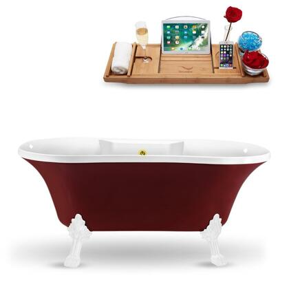 N102WH-GLD 60″ Clawfoot Tub and Tray With External Drain in Red and