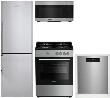 4 Piece Kitchen Appliances Package with BRFB1322SS 24″ Bottom Freezer Refrigerator  BGR24102SS 24″ Gas Range  BOTR30100SS 30″ Over the Range
