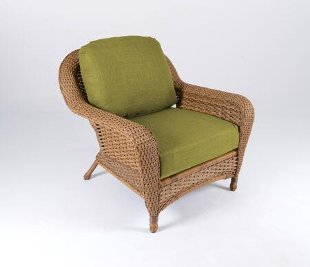 Sea Pines Collection LEX-C1-M-KIWI Club Chair in Mojave Wicker and Rave Kiwi Fabric