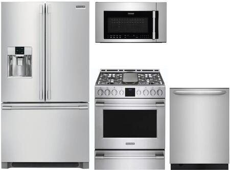 4 Piece Kitchen Appliances Package with FPBC2278UF 36″ French Door Refrigerator  FPGH3077RF 30″ Gas Range  FPBM307NTF 30″ Over the Range Microwave