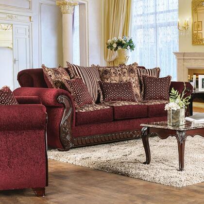 Furniture of America Tabitha SM6110SF Stationary Sofa Red, Main Image