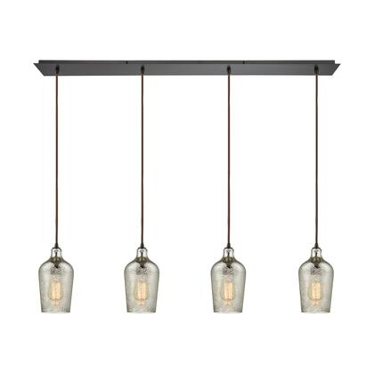 10830/4LP Hammered Glass 4 Light Linear Pan Fixture in Oil Rubbed Bronze with Hammered Mercury