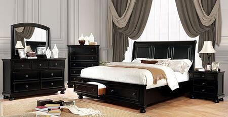 Furniture of America Castor CM7590BKCKBEDNSCHDRMR Bedroom Set Black, CM7590BK-CK-BED-NSCHDRMR
