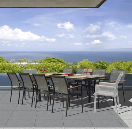Fine Line Essence Collection GR01409LVB2048T 9 Piece Outdoor Dining Set with Cosmopolitan Teak Extension Table  Teak Wood Armrest  Umbrella Hole