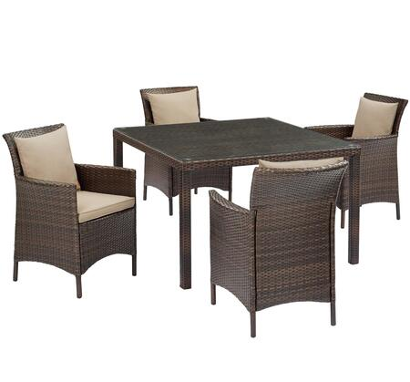 Conduit Collection EEI-3893-BRN-BEI-SET  5 Piece Outdoor Patio Wicker Rattan Set with Powder-Coated Aluminum Frame  Synthetic PE Rattan Weave and