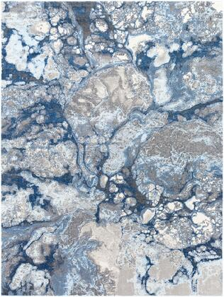 "Aberdine ABE-8029 7'10"" x 10'6″ Rectangle Modern Rugs in Bright Blue  Navy  Medium Gray  Pale Blue  Cream"