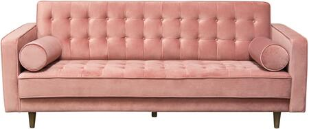 Juniper Collection JUNIPER-SO-RO 86″ Sofa with Velvet Upholstery  Button Tufting  Piped Stitching  Tapered Legs and Contemporary Style in