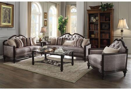 Acme Furniture Azis 537703SET Living Room Set Gray, Sofa, Loveseat and Chair