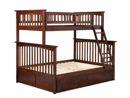 Columbia Collection AB55244 Twin Over Full Size Bunk Bed with 2 Urban Bed Drawers  Lead Free  Casters  Clip On Ladder and Solid Eco-Friendly Hardwood