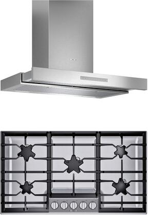 2 Piece Kitchen Appliances Package with SGSP365TS 36″ Gas Cooktop and HDDB36WS 36″ Wall Mount Convertible Hood in Stainless