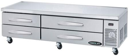 KCB-83-4M 84″ Refrigerated Chef Base with 17.2 cu. ft. Capacity  High-Density Polyurethane Insulated Body and 4″ Swivel Casters in Stainless