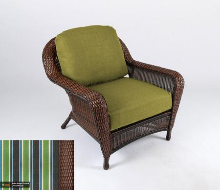 Sea Pines Collection LEX-C1-J-ECHO Club Chair in Java Wicker and Echo Stripe Truffle Fabric