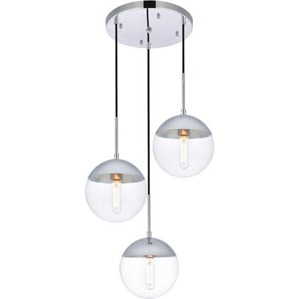 LD6071C Eclipse 3 Light 18 inch Chrome Pendant Ceiling Light With Clear White