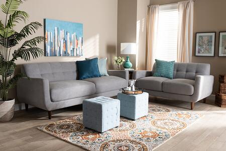 J1453-LIGHTGREY-2PCSET Allister Mid-Century Modern Light Grey Fabric Upholstered 2-Piece Living Room