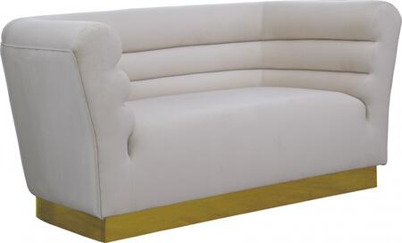 Bellini 669CREAM-L 67″ Loveseat with Piped Stitching  Gold Stainless Steel Base and Velvet Upholstery in