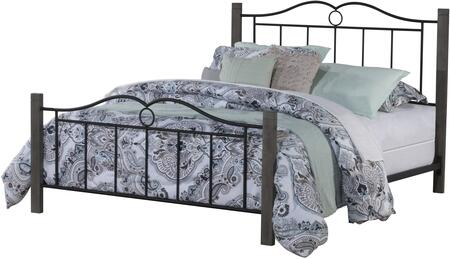 Dumont Collection 2590-460 Metal Full Bed with Double Arched Scroll Design  minimal spindles and Wood Posts in Textured Black and Brushed