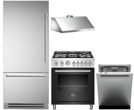 4 Piece Kitchen Appliances Package with REF36PIXL 36″ Bottom Freezer Refrigerator  MAST305GASBIE 30″ Gas Range (Matte White)  KG30CONX 30″ Wall Mount