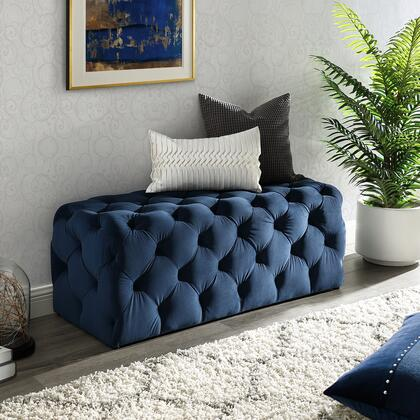 Brice Collection BH85-02NY-AC Bench with Diamond Tufting  Mid-Century Style and Velvet Upholstery in Navy