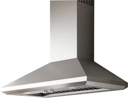 ELN142S2 42″ Pro Series Leone Wall Mount Hood with 1200 CFM  Hush System  Heat Guard  Stainless Steel Baffle Filters and LED Lighting in Stainless