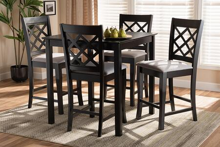 RH320P-GREY/DARKBROWN-5PCPUBSET Alora Modern and Contemporary Grey Fabric Upholstered Espresso Brown Finished 5-Piece Wood Pub