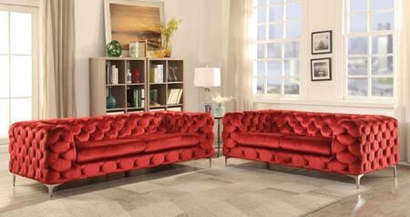 Acme Furniture Adam 52795SET Living Room Set Red, 2 PC Set