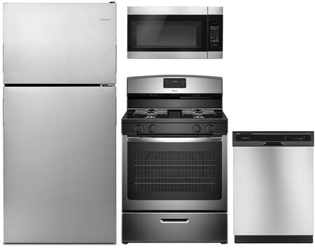 4 Piece Kitchen Appliances Package with ART318FFDS 30″ Top Freezer Refrigerator  AGR5330BAS 30″ Gas Range  AMV2307PFS 30″ Over the Range Microwave