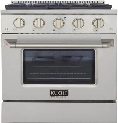 KNG301-S 30″ Stainless Steel Freestanding Natural Gas Range with 4 Burners  4.2 cu. ft. Capacity Oven  Manual Convection Cooking Mode  Blue Porcelain