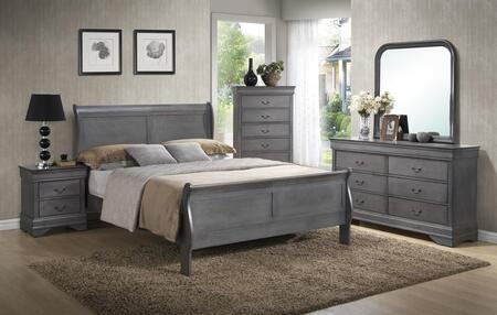 Myco Furniture Louis Philippe Collection 5 Pc Bedroom Set With Queen Size Bed Dresser Mirror Chest Nightstand In Grey Finish Appliances Connection