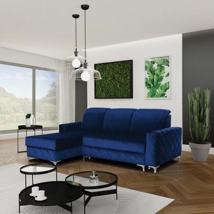 Alfredo Collection ALFREDOMINIRIGHTBLUE Sectional Sofa in Blue