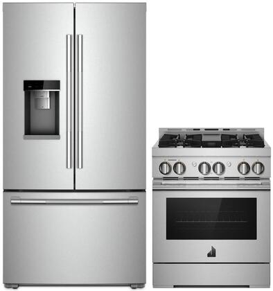 """2 Piece RISE Series Smart Kitchen Appliances Package with JFFCC72EHL 36"""" French Door Refrigerator and JGRP430HL 30"""" Gas Freestanding Range in"""