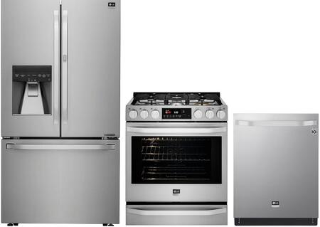 3 Piece Kitchen Appliances Package with LSFXC2476S 36″ French Door Refrigerator  LSSG3017ST 30″ Gas Range and LSDT9908ST 24″ Built In Fully