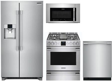 4 Piece Kitchen Appliances Package with FPSC2278UF 36″ Side by Side Refrigerator  FPGH3077RF 30″ Gas Range  FPBM3077RF 30″ Over the Range Microwave