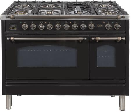Ilve Nostalgie UPN120FDMPNYLP Freestanding Dual Fuel Range Black, upn120fdmpnylp Liquid Propane Range