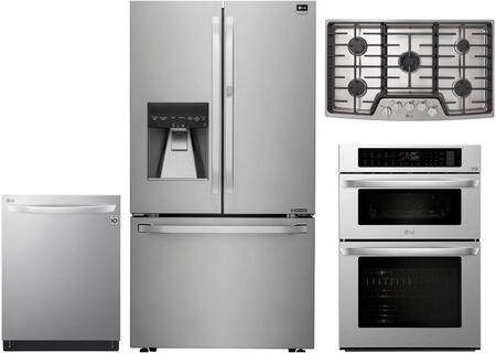 4 Piece Wi-Fi Connected Kitchen Appliances Package with LSFXC2476S 36″ French Door Refrigerator  LWC3063ST 30″ Double Wall Oven/Microwave Combo