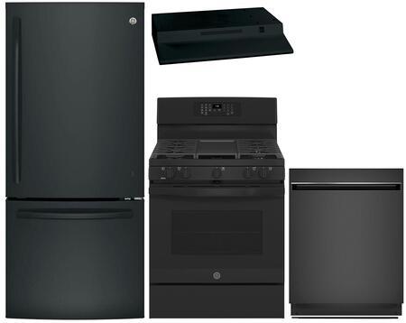 4 Piece Kitchen Appliances Package with GDE21EGKBB 30″ Bottom Freezer Refrigerator  JB860DJBB 30″ Electric Range  UVH13013MDS 30″ Under Cabinet