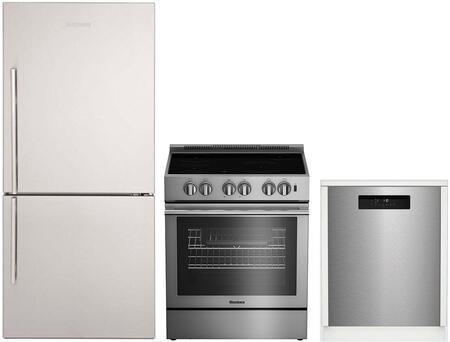 """3-Piece Kitchen Appliances Package with BRFB1812SSN 30"""" Bottom Freezer Refrigerator BIRP34450SS 30"""" Electric Range and DWT52600SSIH 24"""" Built In"""