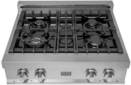 RT30 30″ Gas Cooktop with 4 Italian Burners  Stainless Steel Handle  Cast Iron Grate  Electronic Spark Ignition  and Knob Control  in Stainless
