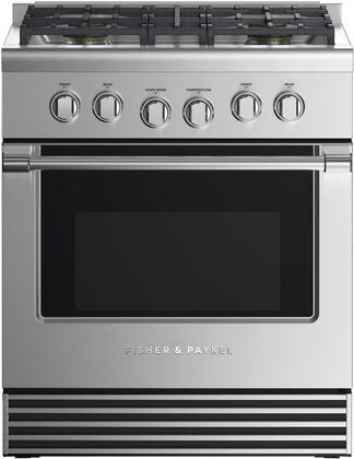 Fisher Paykel Professional RDV2304LN Freestanding Dual Fuel Range Stainless Steel, Front view