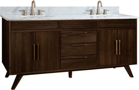 Avanity Taylor TAYLOR-VS73-BT 73″ Vanity Combo with 4 Soft Close Doors  3 Soft Close Drawers and Carrara White Marble Top in Brown