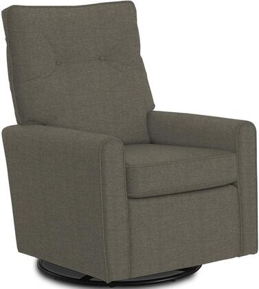 Phylicia Collection 4007-19706 Recliner with 360-Degrees Swivel Glider Metal Base  Removable Back  High Backrest  Zipper Access and Fabric Upholstery