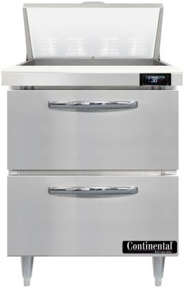 Continental Refrigerator Designer Line D27N8D Prep Refrigerator Stainless Steel, D27N8-D Standard Top Sandwich Unit Refrigerator