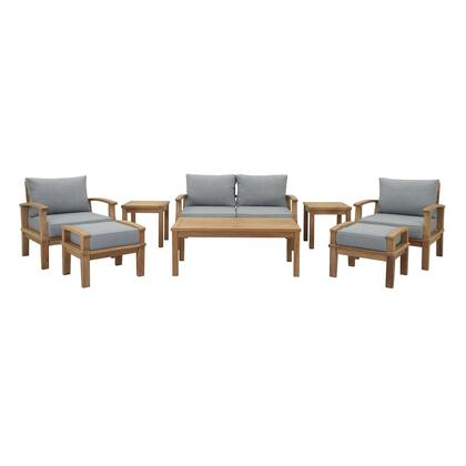 Marina Collection EEI-1471-NAT-GRY-SET 8 PC Outdoor Patio Teak Set in Natural Grey