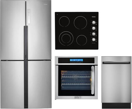 4 Piece Kitchen Appliances Package with HRQ16N3BGS 33″ French Door Refrigerator  HCW225LAES 24″ Electric Single Wall Oven  HCC2220BEB 24″ Electric