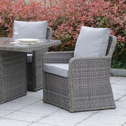 Furniture of America Bowdon CMOT2221AC2PK Patio Chair Gray, cm ot2221 ac z