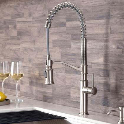 Sellette Commercial Style KPF-1683SFS-KSD-80SFS Pull-Down Kitchen Faucet with Deck Plate and Soap Dispenser in Spot Free Stainless