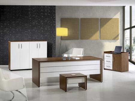 Casa Mare Lexus LEXUS71PWS Desk White, 4 PC Set
