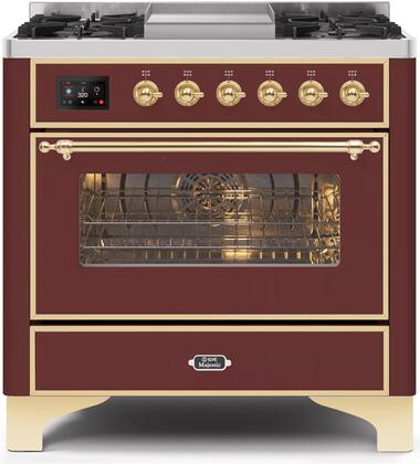 UM09FDNS3BUG 36″ Majestic II Series Dual Fuel Natural Gas Range with 6 Burners and Griddle  3.5 cu. ft. Oven Capacity  TFT Oven Control Display
