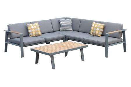 SETODNOSEGR Armen Living Nofi Outdoor Patio Sectional Set in Gray Finish with Gray Cushions and Teak