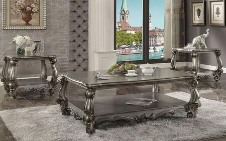 Acme Furniture Versailles 86820SET Living Room Table Set Silver, Coffee and End Table Set